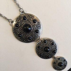 H&M Silver Triple Tier Disc Long Necklace